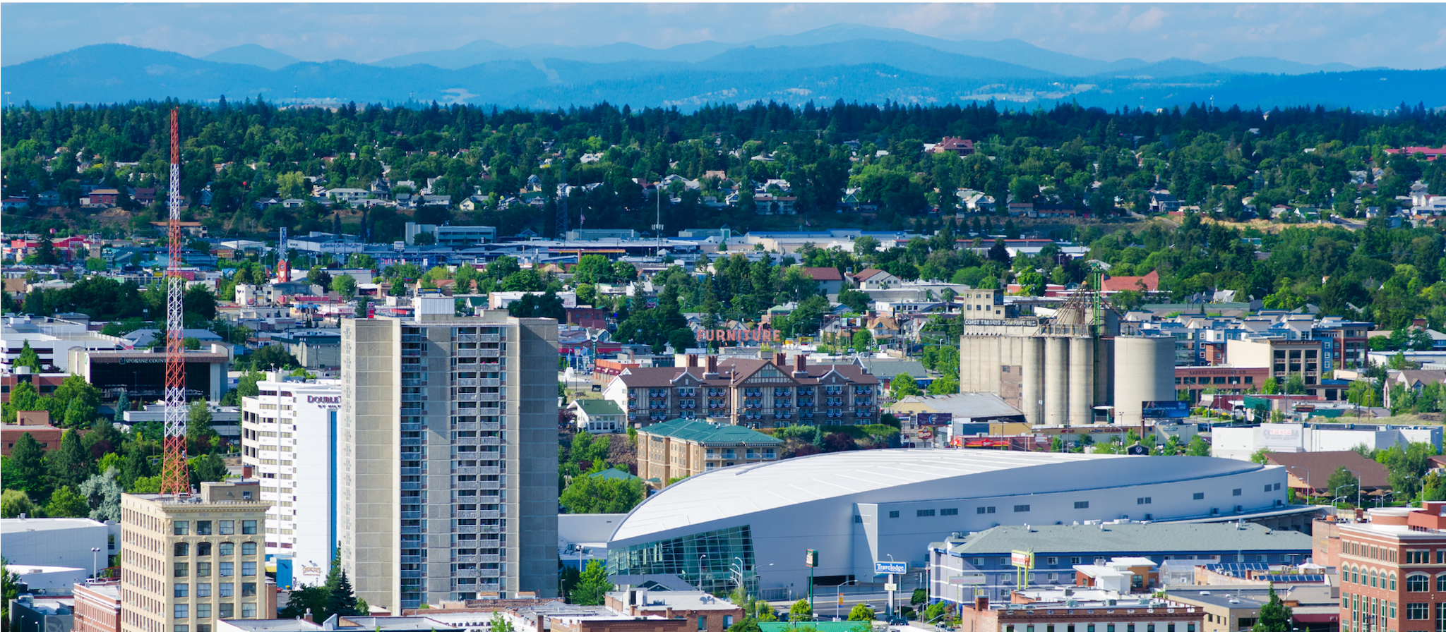 Image of downtown Spokane, including the Spokane Convention Center