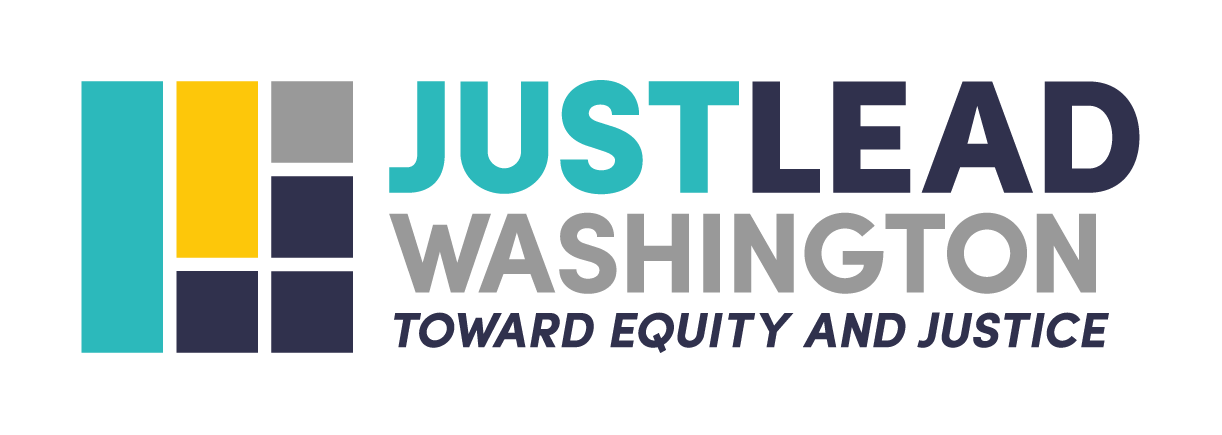 Just Lead logo, blocks of collor with the text toward equity and justice