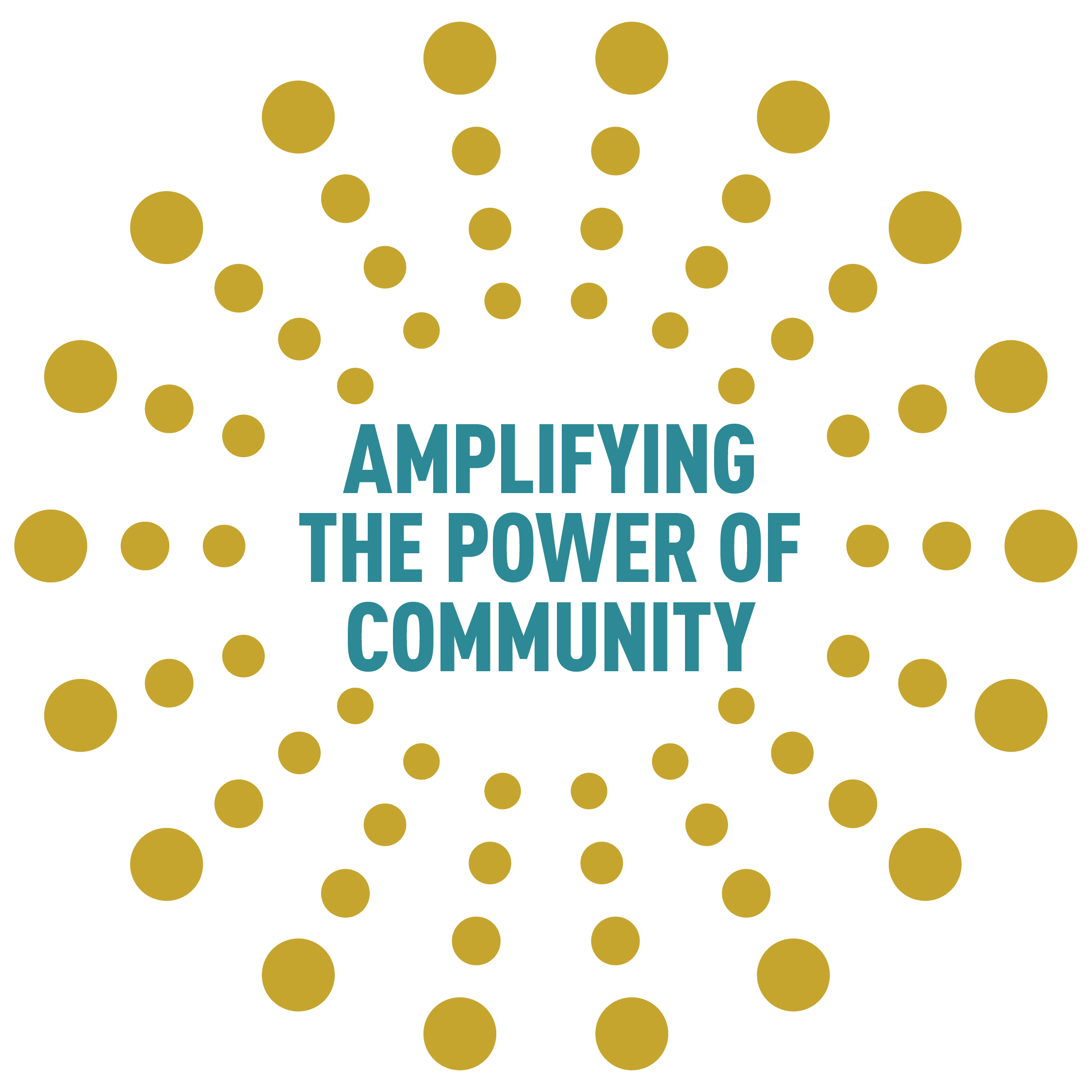 """ATJ Conference Logo with the words """"Amplifying the Power of Community"""""""