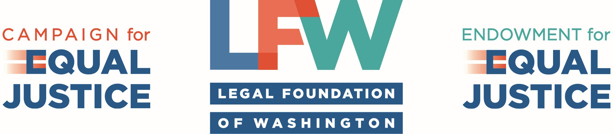 Logos for Legal Foundation of Washington, Campaign for Equal Justice, and Endowment for Equal Justice